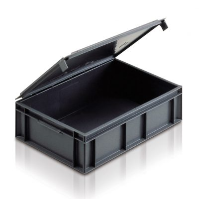 Euro Stacking Containers With Lids Attached - Integral Lid Euros