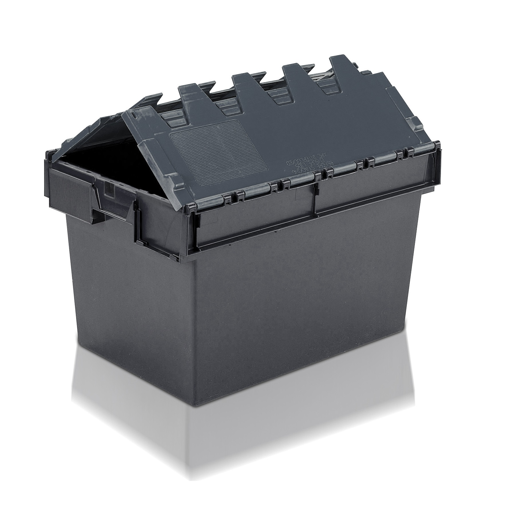 tote box - attached lid contianer - 64l (600 x 400 x 365h mm)