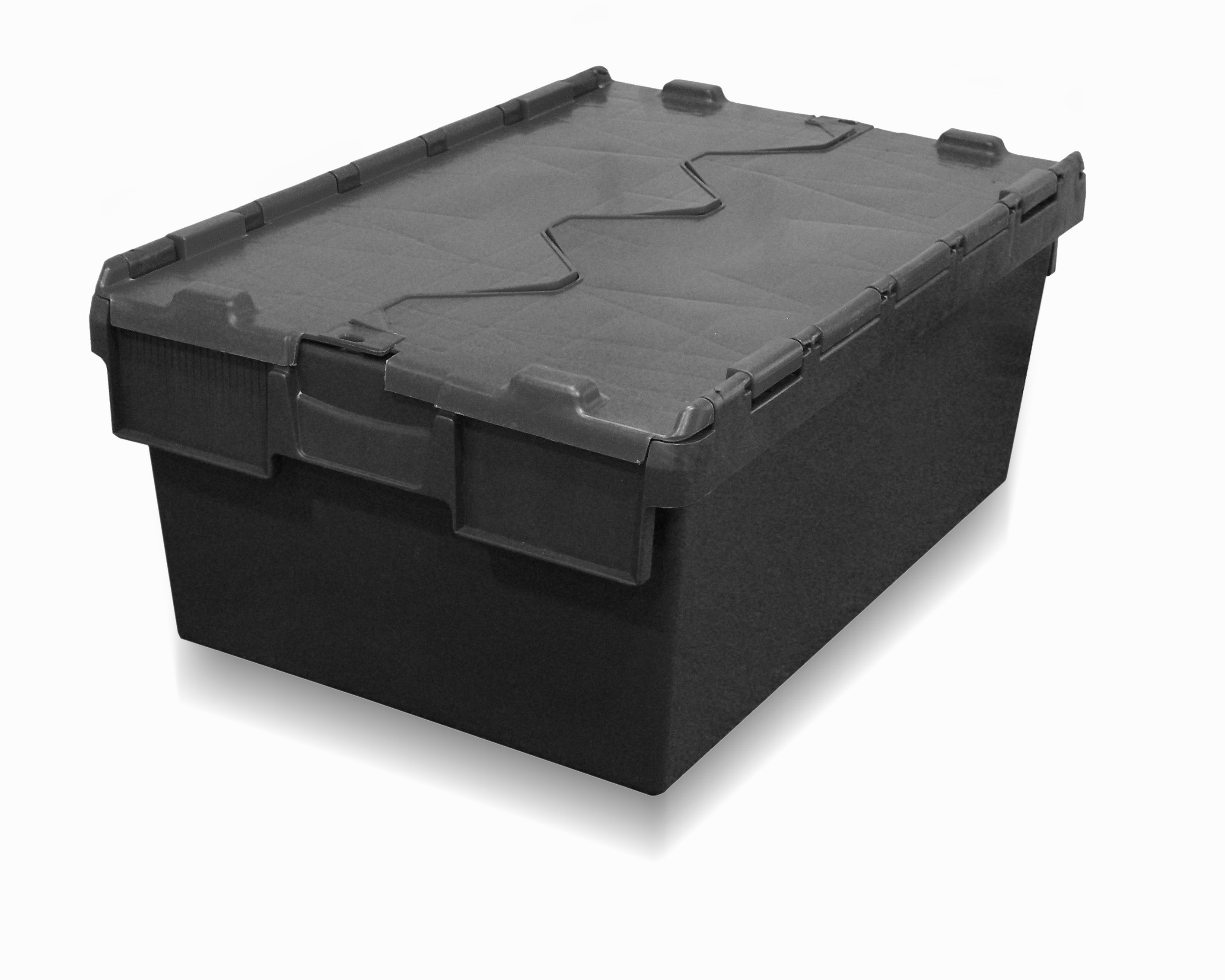 Tote Box Attached Lid Container 40l 600 X 400 X 250h Mm